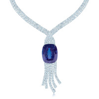 Tiffany & Co. - Necklace in platinum with a 178.07-carat tanzanite and diamonds.