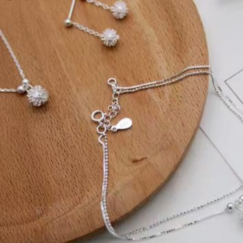 Fashion 925 Sterling Silver Dandelion Stud Earrings/Dandelion necklace/Dandelion Anklets E4886-0414