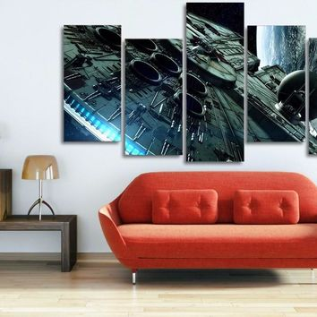 5 panel large HD printed canvas print millennium falcon star wars poster painting home decor wall art pictures for living room