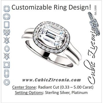 Cubic Zirconia Engagement Ring- The Elaine Li (Customizable Radiant Cut Style with Halo, Wide Split Band and Euro Shank)