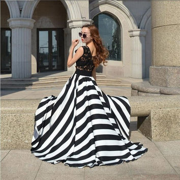 Large Wing Fashion Chiffon Long Dress Striped Print Dress Summer 2014 New Casual Maxi Dress LQ4612 = 1876513796