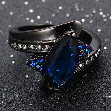 Blue Sapphire Ring Size 6-10 Crystal Women's 14Kt Black Gold Filled Gift FREE SHIPPING