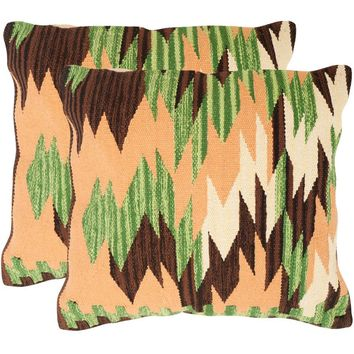 """Safavieh Canyon 20"""" x 20"""" Forest Neutral Pillow, Set of 2"" Off-White Standard"