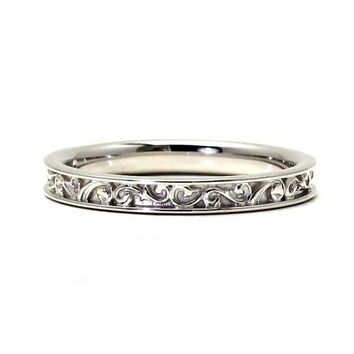 14K Filigree Wedding Band for Vintage Ring Art Nouveau and Art Deco Engagement Ring
