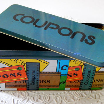 Vintage Coupon Organizer. Vintage Houswares. Coupon Tin. Metal Organizer. Desk Storage. Coupon Holder. Altered Art Supply. Kitchen Tin.