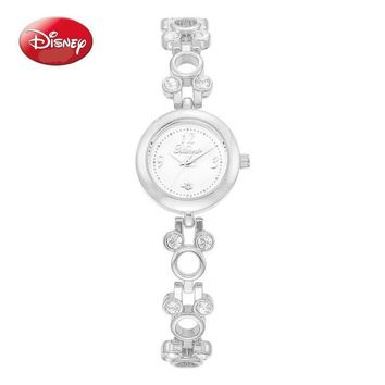 100% Genuine Disney Brand Rhinestone Crystal, Metal Mickey Mouse Ears Shaped Links Ladies Fashion Watch Comes in Silver or Gold