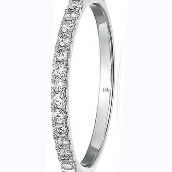 CERTIFIED 1/5 cttw Pave Diamond Wedding Band in 14k White Gold