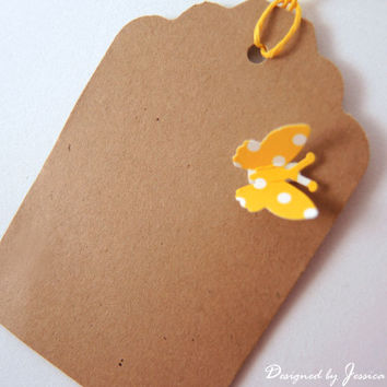 12 Handmade Gift Tag Bridal Shower, Wedding Favor, Birthday Gift, Vintage:Kraft with 3D yellow butterfly.