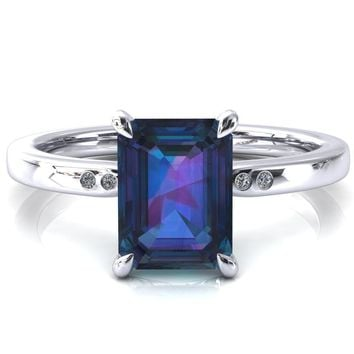Maise Emerald Alexandrite 4 Prong Diamond Accent Engagement Ring