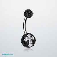 Dark Glint Cross Tiffany Inspired Sparkle Ferido Belly Ring