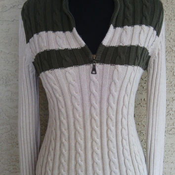 Tommy Hilfiger sweater turtleneck women vintage medium cotton zip vneck front green cream stripes 90's long sleeves classic preppy sexy