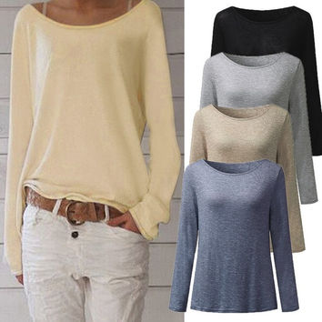 Fashion Women Pullover Tops Casual O-neck Slim Fit Long Sleeve Knitted T-shirt Blusas Feminino Autumn Bottoming Shirt Large Size