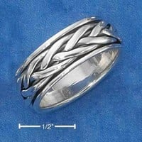 Sterling Silver Ring:  Antiqued Braided Worry Ring
