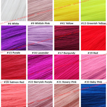 """22"""" Clip On In Colorful Straight Hair Extension Party Solid & Two Tone USA Lot Red Purple Yellow Blue Green Cyan Fuchsia Pink Grey Teal Aqua"""