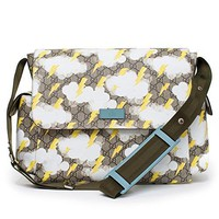 Gucci Lightning Bolt Yellow Print GG Canvas Diaper Bag Beige Multicolor New