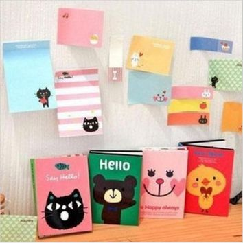VONC1Y Cute Cartoon Animal Cat Bear Memo Pad Sticky Post it Note Kawaii Paper Sticker for kids Korean Stationery Free shipping 10009
