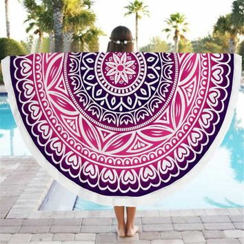 Multicolor Indian Round table cloth Large Lotus Print Beach Bath Towel tablecloth for table toalha de mesa toalla mandalas playa