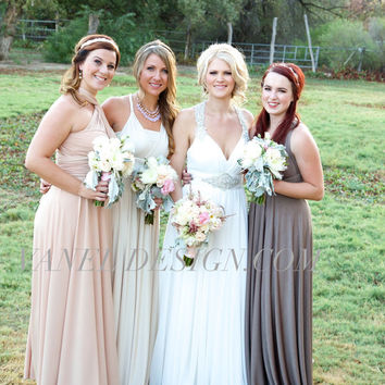 Bridesmaid Dress - INFINITY Bridesmaids Dress -Taupe color-CONVERTIBLE Bridesmaids Dress,One Dress Endless Styles- 50 COLORS- Ivory