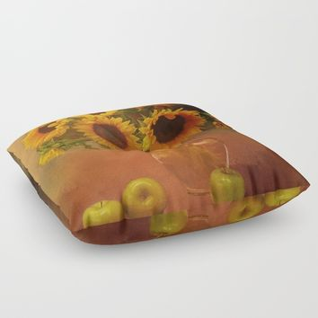 Sunflower Reflections Floor Pillow by Theresa Campbell D'August Art