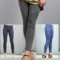 Beulah Moto Zipper Legging Jegging - Blue, Midnight Blue, Dark Grey