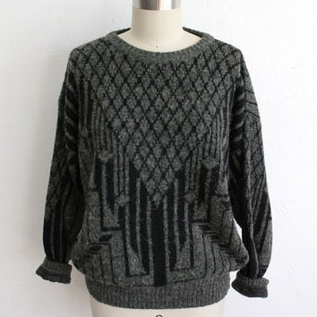 Vintage 80s Unisex Forest Green Fuzzy Geometric Knit Sweater // Deco Pattern
