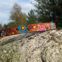 """The """"Sadie Flower Power"""" collar..Hand stamped and hand painted leather dog collar"""