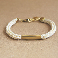 Cream bracelet with tube, knit cord bracelet, tube bracelet, cream cord bracelet with star charm