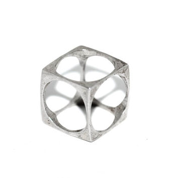 Signed Cubic Modernist Sterling Silver Avant Garde Architectural Ring or Pendant, Vintage Mid Century MCM Statement Band Ring Geometric