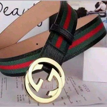 Gucci Men's White,Black Red, Green Leather, Web Strip Belt Interlocking Logo