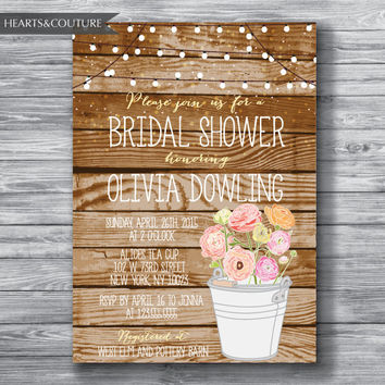 Rustic bridal shower invitation, Printable Bridal Shower Invitation, WEDDING SHOWER INVITE, bridal invitation, bridal shower, Wedding Shower