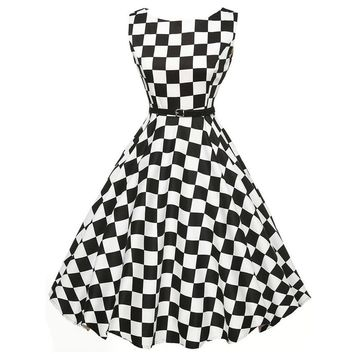 VINTAGE STYLE CHECKER COCKTAIL DRESS