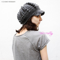 Grey Crochet Women Hat, crochet Teen Hats, crochet woman Cap, Crochet Beanie