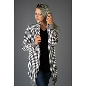 Black and White Checkered Cardigan (S-XL)