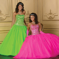Custom Made New Design Royal Green Color y Backless Sweetheart Quinceanera Dresses Ball Gown Sequins Floor Length Dress Alternative Measures - Brides & Bridesmaids - Wedding, Bridal, Prom, Formal Gown