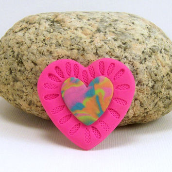 Bright Pink Heart Brooch / Polymer Clay Jewelry / Scarf or Hat Pin