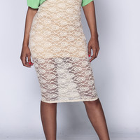 sample- Tan iAMMI Lace High Waist Midi Skirt XSMALL/SMALL