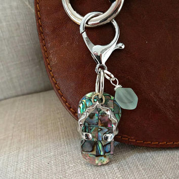 Purse Charms, Flip Flop Jewelry, Flip Flop Gifts, Abalone Shell Jewelry, Sea Glass Purse Charm, Handbag Accessories, Sea Glass Gifts