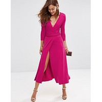 WRAP HIGH SLIFT DRESS