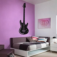 Ik801 Wall Decal Electric Bass Guitar Star Music Song Artist Notes Chords Rock