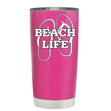 The Beach Life Sandals on Bright Pink 20 oz Tumbler Cup