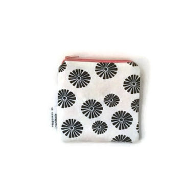 Black and White Pouch, Floral Pouch, Card Holder, Geometric Pouch, Small Makeup Bag, Zipper Wallet, Gift Idea for Her, Small Purse Organizer