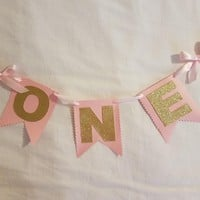 Pink and Gold with Scallop Edge ONE High Chair Birthday Banner