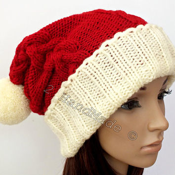 Santa Hat Adult Unisex Women Men Handmade Knit Oversized Beanie Beret Baggy Slouchy Red Cream White Xmas Christmas Santa Chunky Pom Pom