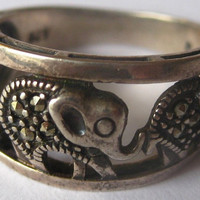 Vintage Sterling and  Marcasite Elephant Ring