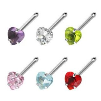 Heart 3mm Prong Set Nose Stud Ring
