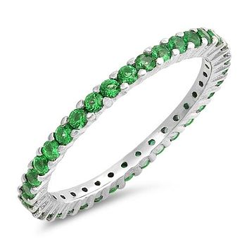 1TCW Emerald Green Russian Lab Diamond Wedding Band Stacking Ring