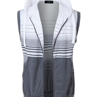 LE3NO Mens Sleeveless Lightweight Casual Zip Up Striped Hoodie Vest
