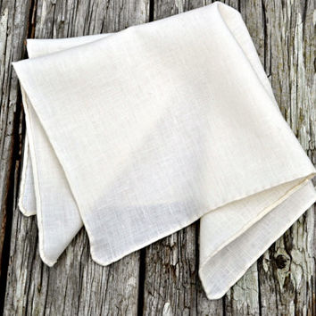 Hand Rolled Hem Pocket Square, Cream Linen Handkerchief, Irish Linen Handkerchief, Cream Pocket Square, Formal Pocket Square, Formal Hankie