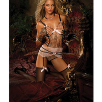 Open Cup Corset, Gloves & Stockings Pink-silver O-s
