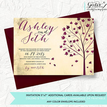 Rustic Autumn Wedding Invitation, Rustic Wedding Invitations, Rustic Fall Wedding Invitation, Shabby Chic Wedding Invitation, Country.